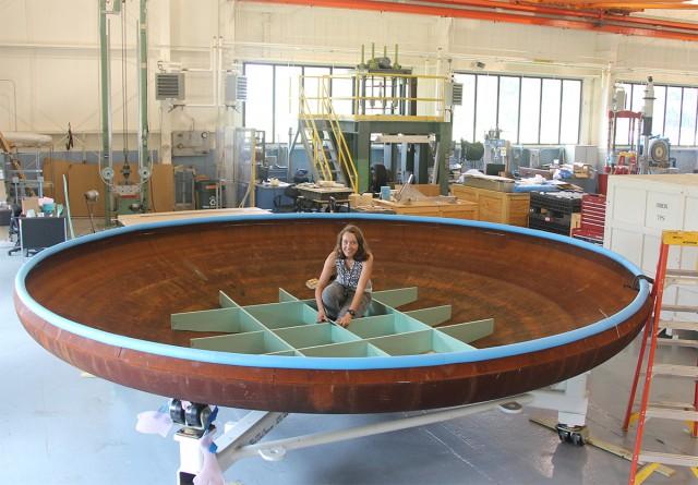 NASA intern Alexis Harroun working in the lab